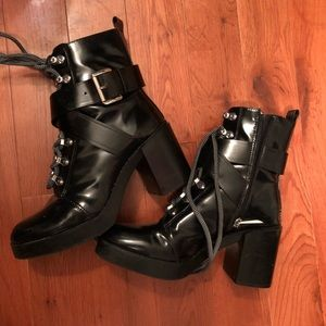 ZARA lace up silver buckle ankle boots heels